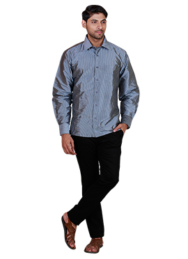 Grey Pure Silk Classic Shirt