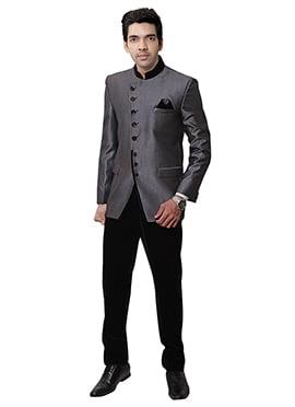 Grey Rayon Bandhgala Suit