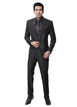 Grey Rayon Lapel Suit