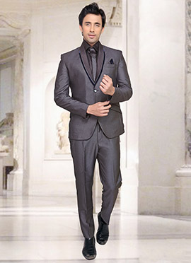Grey Rayon Lapel Suit