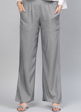 Grey Regular Fit Palazzo Pant