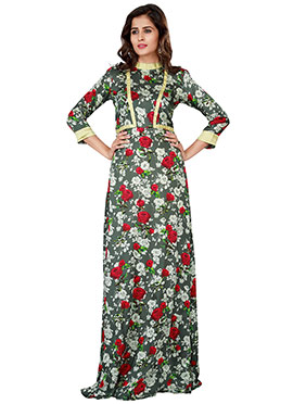 Grey Satin Anarkali Gown