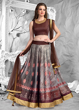 Grey Satin Umbrella Lehenga