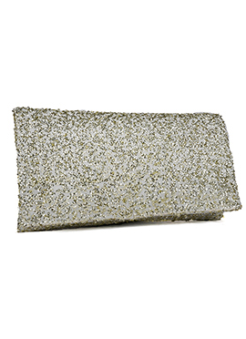 Cream N Gold Sequins Embellished Stylish Clutch