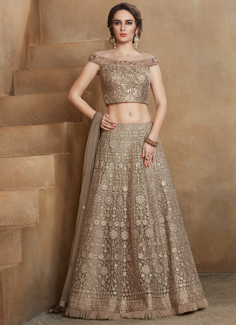 658d024a380ccd Buy Grey Sequins Embroidered A Line Lehenga, Sequins ...