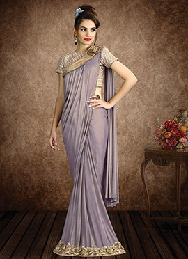 Grey Shimmer Georgette Border Saree