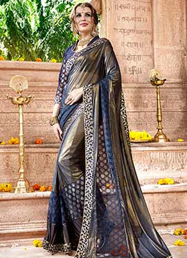 Grey Shimmer Georgette Net Saree