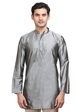 Grey Silk Short Kurta