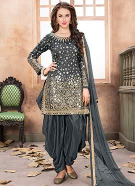 Grey Taffeta Salwar Suit