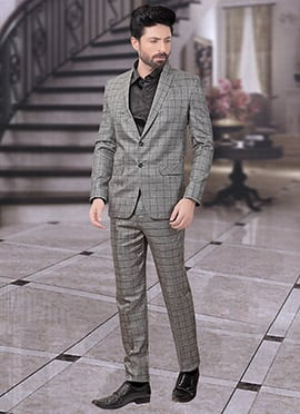 Grey Terry Rayon Lapel Suit