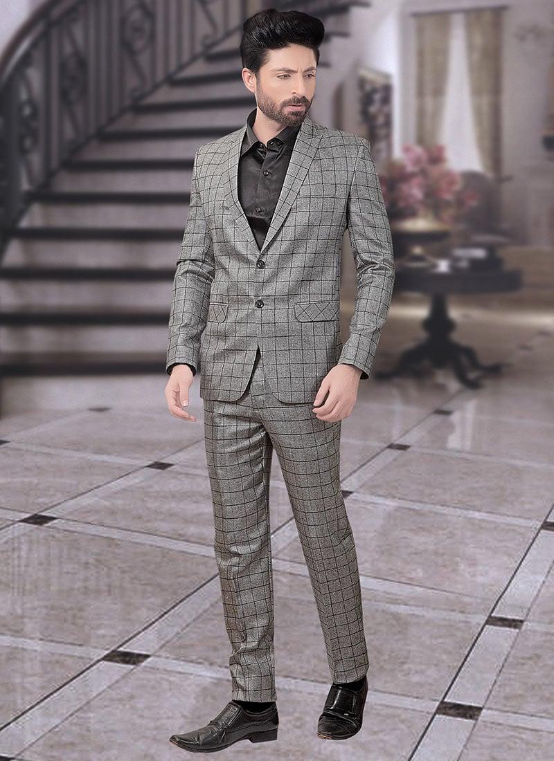 96155e15da Buy Grey Terry Rayon Lapel Suit, Sangeet , Party Wear, lapel suits Online  Shopping | SUMDC3458