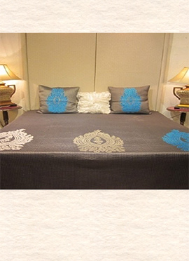 Grey Velvet N Art Silk Bed Spread