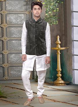 Grey Velvet Nehru Jacket