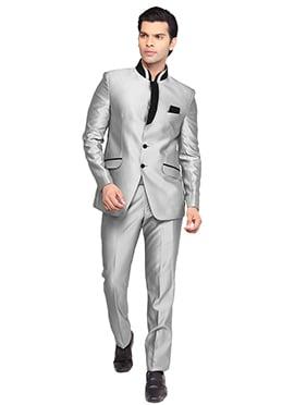 Grey Viscose Bandhgala Suit