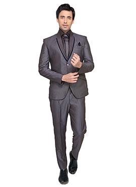Grey Viscose Lapel Style Suit