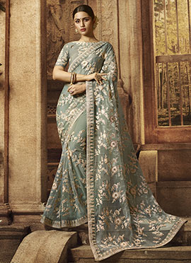 Olive Green Embroidered Saree