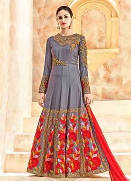 Greyish Blue Art Silk Abaya Style Anarkali Suit