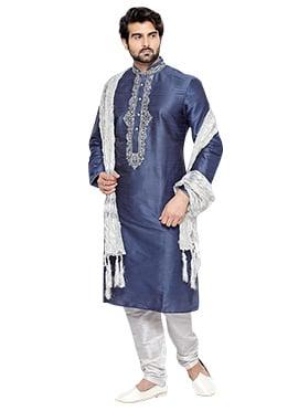 Greyish Blue Art Silk Kurta Pyjama
