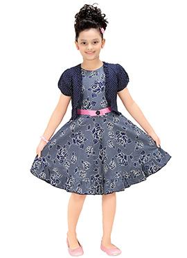 Greyish Blue Jacket Style Kids Dress