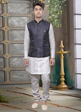 Greyish Blue Rayon Nehru Jacket