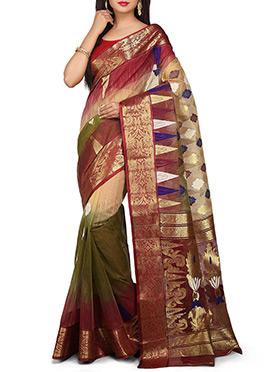 Handloom Multicolor Silk Cotton Tant Saree