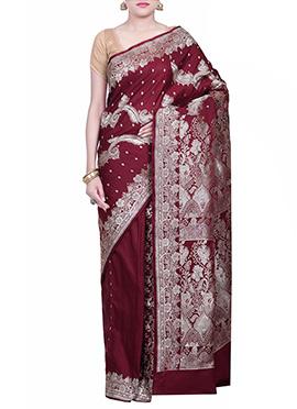 Handloom Silk Dark Maroon Saree