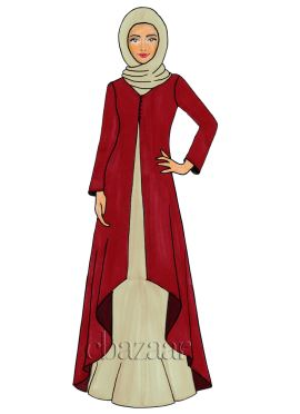 Haute Red Georgette Jacket Style Abaya