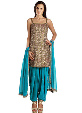Heavily Embroidered Silk Patiala Suit