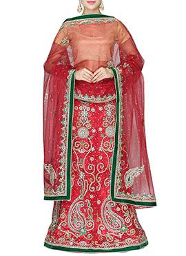 Heavy Embellished Red Lehenga choli