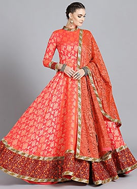 High Neck Style Dual Tone Anarkali Suit