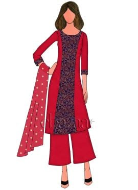 High Risk Red Dupion Silk Palazzo Suit