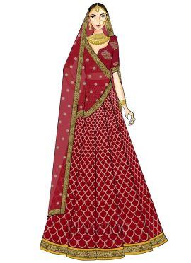 High Risk Red Embroidered Kali Lehenga