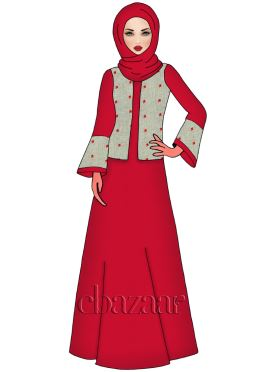 High Risk Red Faux Georgette Abaya