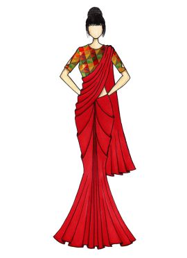 High Risk Red Georgette Saree with Black Velvet Blouse