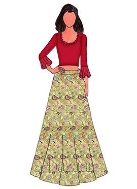 High Risk Red Georgette Skirt Set