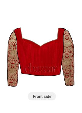 High Risk Red Nayantara Style Diamond Neck Blouse