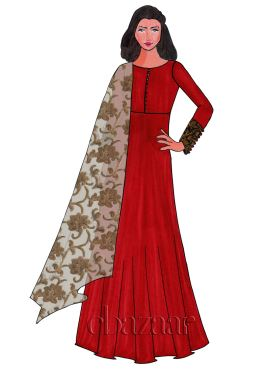 High Risk Red Taffeta Abaya Style Anarkali Suit