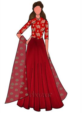 High Risk Red Taffeta Anarkali Suit