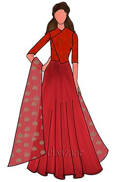 High Risk Red Taffeta Anarkali Suit