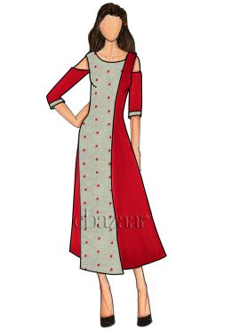 High Risk Red Taffeta Cold Shoulder Long Kurti