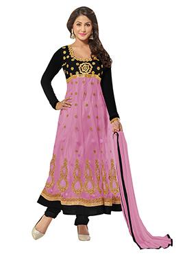 Hina Khan Black N Orchid Pink Anarkali Suit