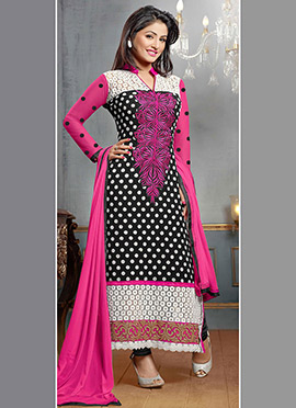 Hina Khan Black N white Straight Suit