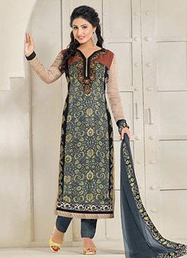 Hina Khan Dusty Blue Straight Pant Suit