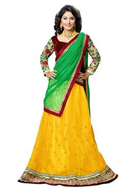 Hina Khan Yellow Net A Line Lehenga Choli