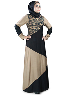Hirah Rayon Black N Beige Abaya