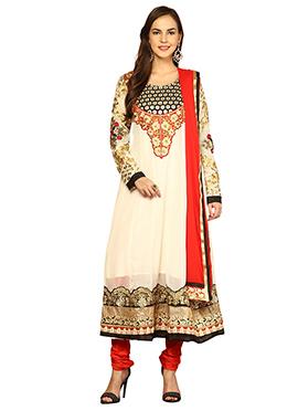 Home India Cream Faux Georgette Kalidar Suit