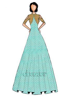 Honey Dew Green Art Dupion Silk Gown N Jacket