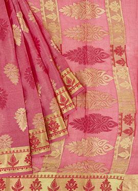 Honey Suckle Pink Chanderi Silk Saree