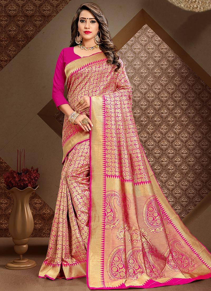 16f68987dd136e Buy Hot Pink Art Benarasi Silk Saree, Benarasi , Zari, sari Online ...