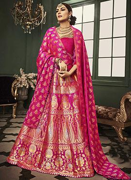 Hot Pink Benarasi Art Silk Umbrella Lehenga